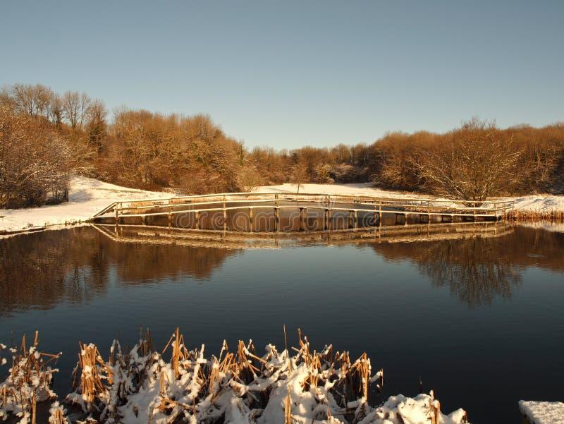 Winterschneeszene - Fischensee in Wales stockfoto