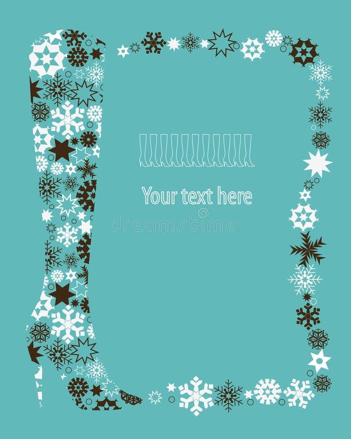 Winterschuh von den Schneeflocken. lizenzfreie abbildung