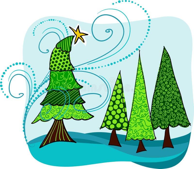 Winterse bomen stock illustratie