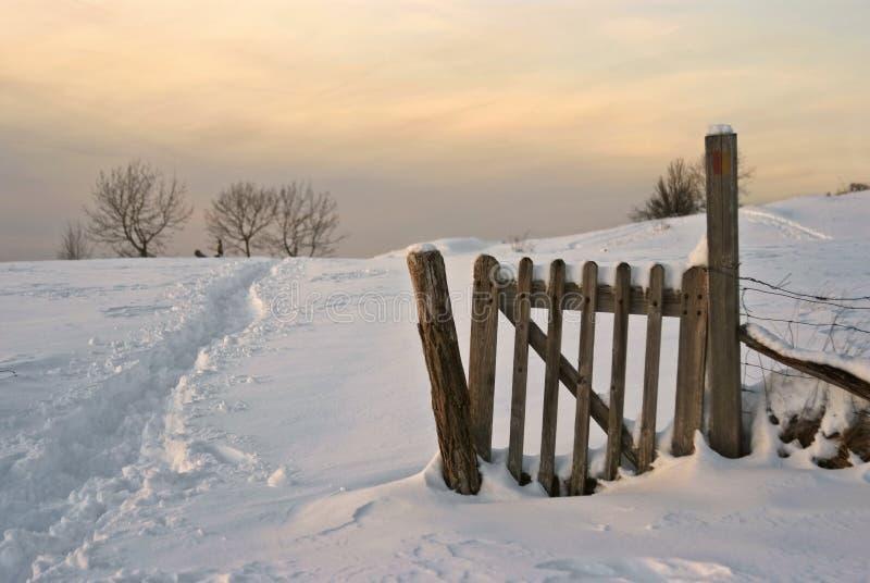 Winterse plattelandsscène bij schemer royalty-vrije stock foto's