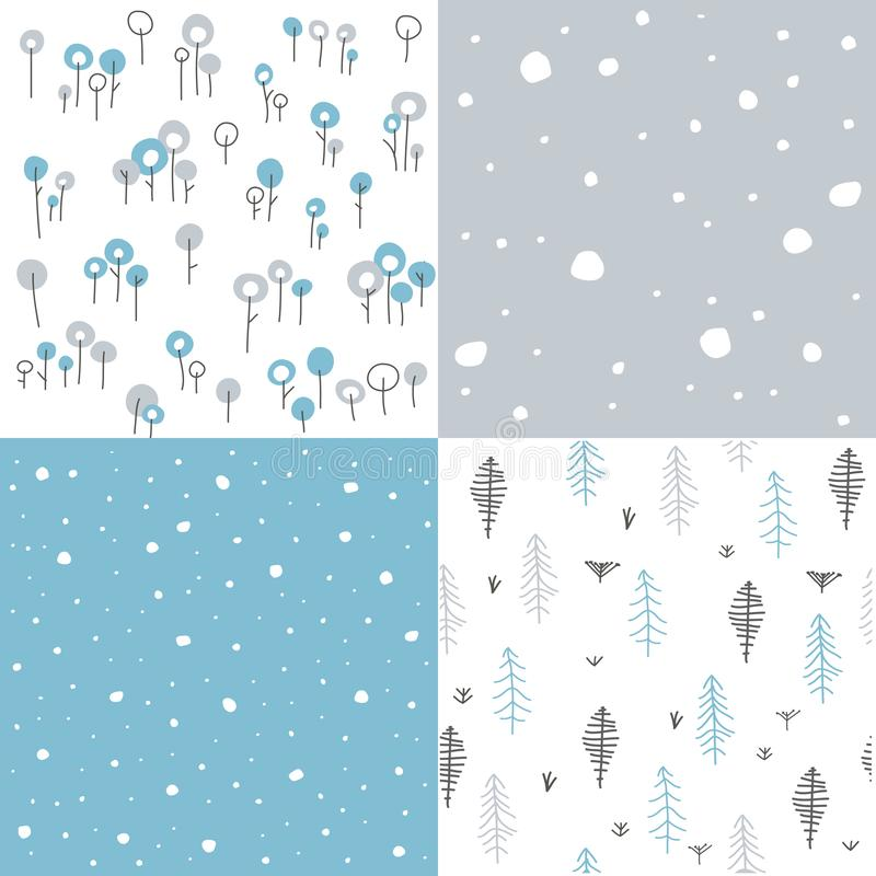 Winter seamless floral patterns stock illustration