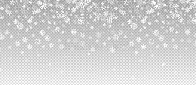 Wintersneeuwval Daling van sneeuw, vlokken banner Vector kerstsneeuwval-grens geïsoleerd op transparante achtergrond vector illustratie