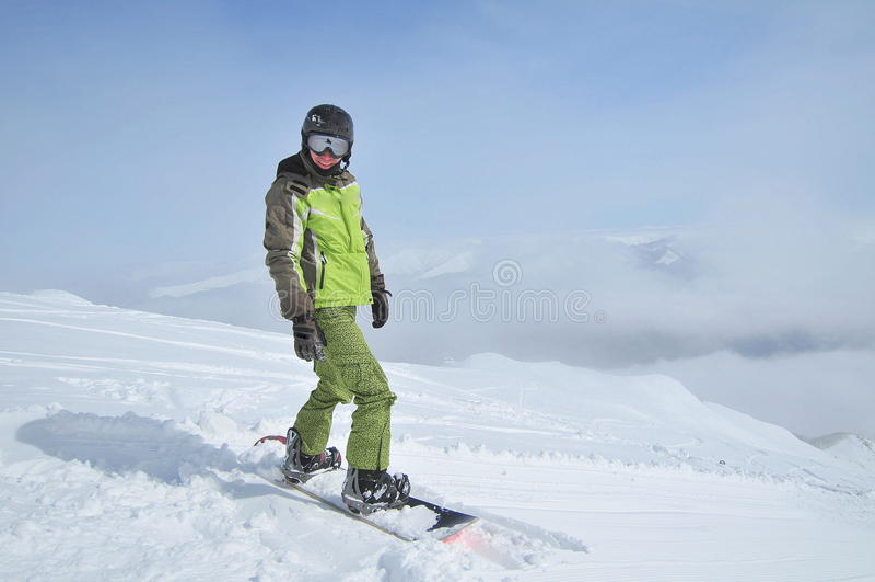 Wintersport (Snowboarderportrait) stockbilder