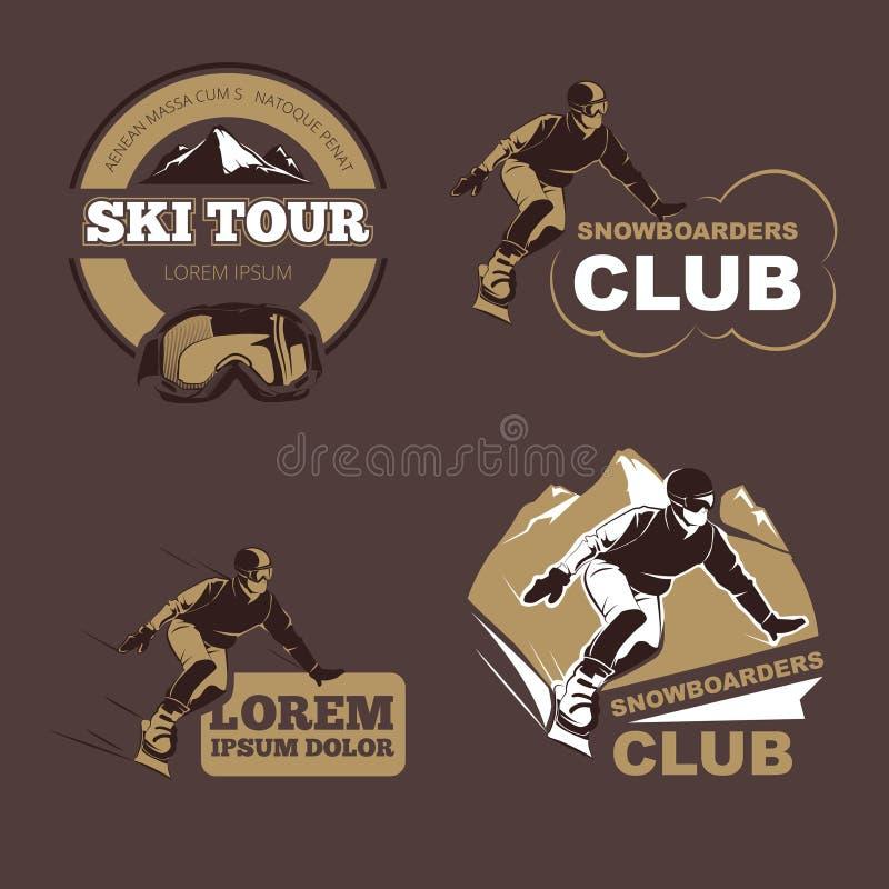 Wintersport, -Snowboarding und -skifahren schlagen Vektorembleme, Aufkleber, Ausweise mit einer Keule, die eingestellten Logos lizenzfreie abbildung
