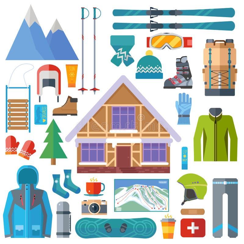 Wintersport Tätigkeit und Ausrüstungsikonensatz Skifahren, Snowboardingvektor lokalisiert Skiortelemente im flachen Design stock abbildung