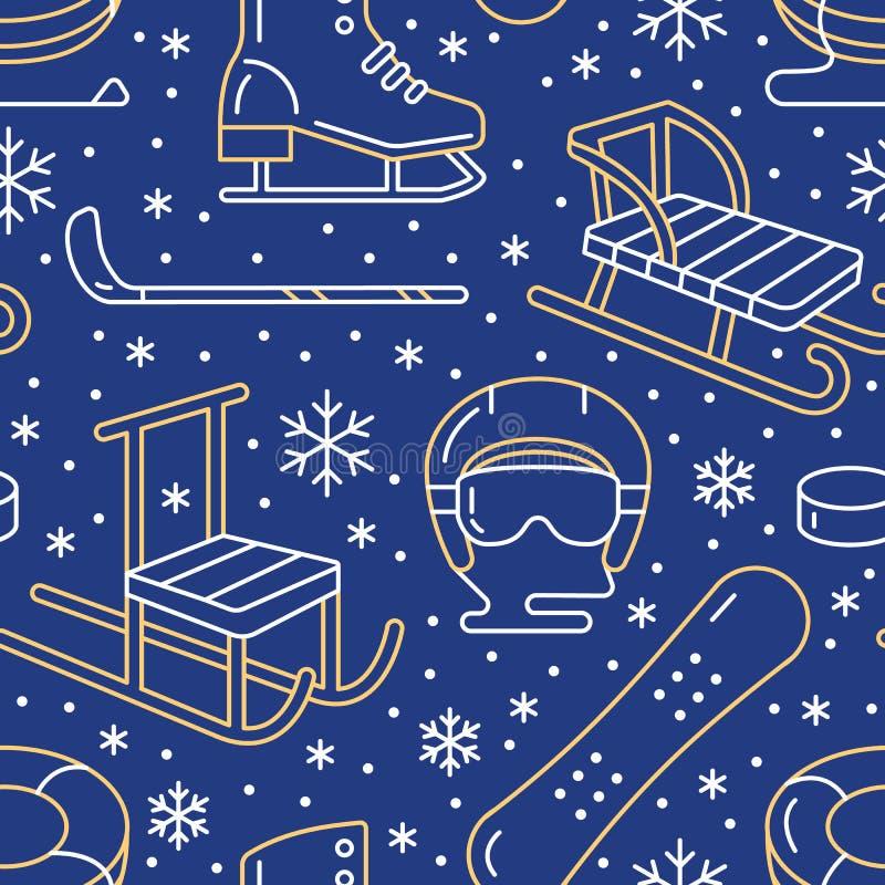 Wintersporten blauw naadloos patroon, materiaalhuur bij skitoevlucht Vector vlakke lijnpictogrammen - vleten, hockeystokken stock illustratie