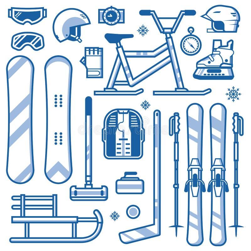 Wintersporten en Activiteitenmateriaalpictogrammen vector illustratie