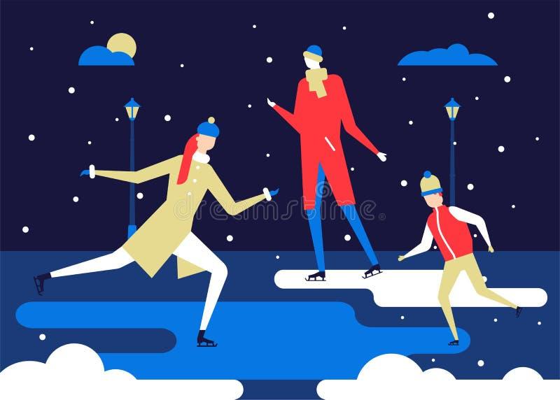 Wintersporten, het schaatsen - de vlakke kleurrijke illustratie van de ontwerpstijl vector illustratie