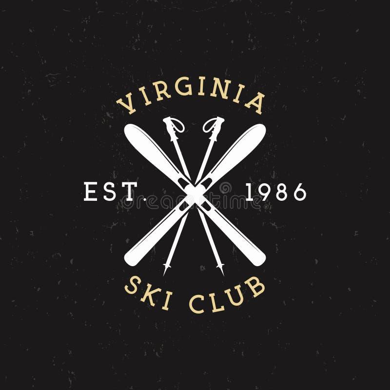 Wintersporten, Ski Club Label Het uitstekende kenteken van de het kampontdekkingsreiziger van de Bergwinter Het openluchtontwerp  stock illustratie