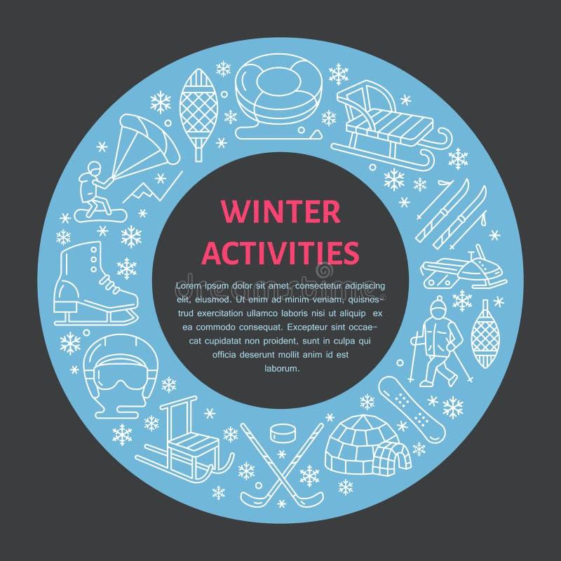 Wintersportenbanner, materiaalhuur bij skitoevlucht Vectorlijnpictogram van vleten, hockeystokken, sleeën, snowboard, sneeuw stock illustratie