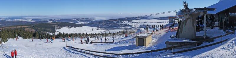 Wintersportgebiet in Erzgebirge stockfoto