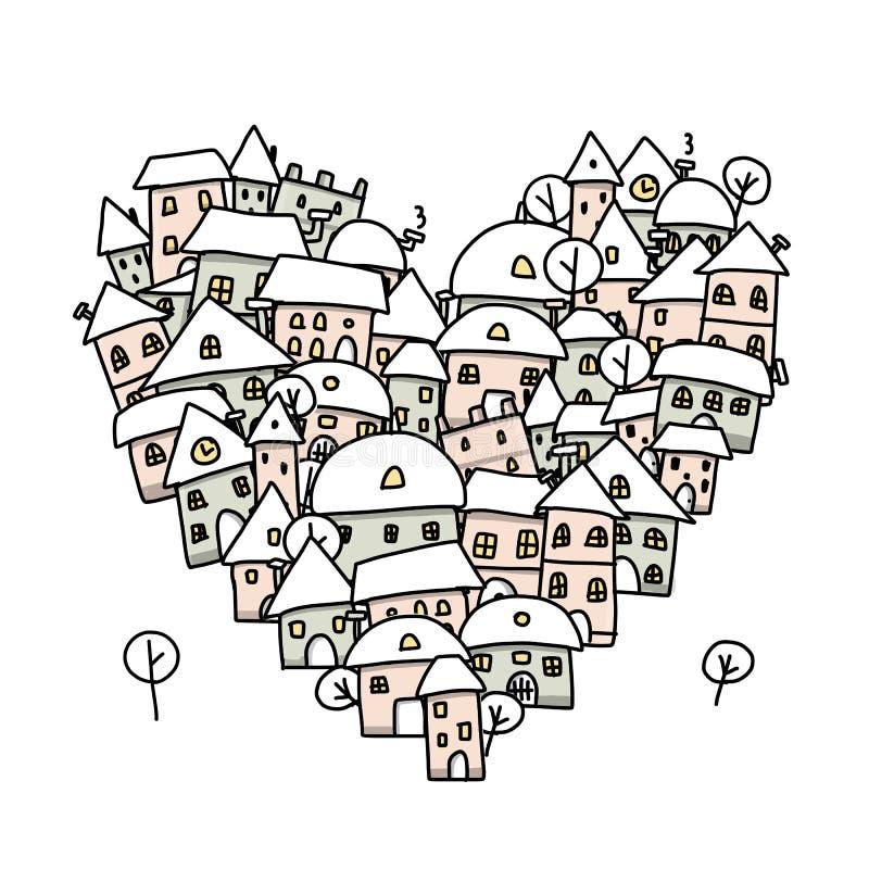 Winterstadt der Liebe, Herzformskizze für Ihr stock abbildung