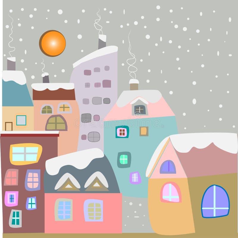 Winterstadt Snowy-Häuser in den Pastellfarben stockfoto