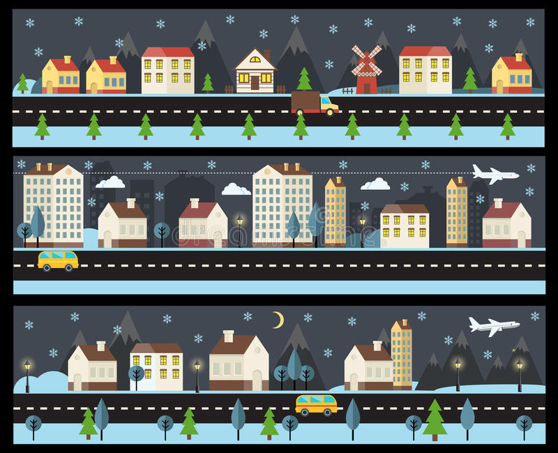 Winterstadtbild in der flachen Art lizenzfreie abbildung