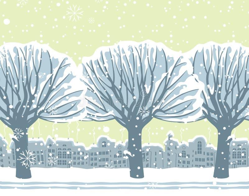 Winterstadtbild mit schneebedeckten Bäumen im Park stock abbildung