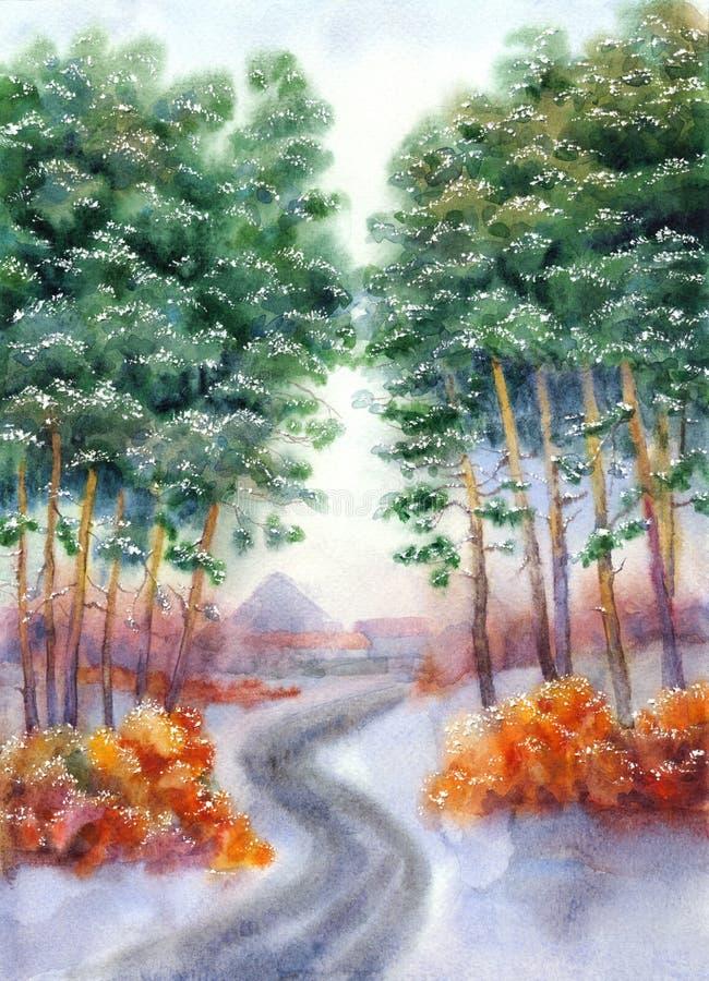 Winterstraße zum Dorf durch einen Kieferwald stock abbildung