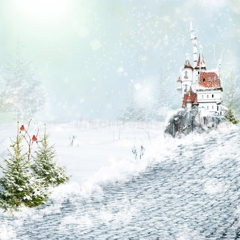 Winterstraße zum magischen Schloss lizenzfreie abbildung