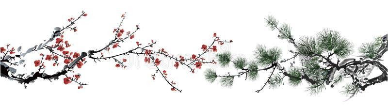 Wintersweet och sörjer treen royaltyfri illustrationer