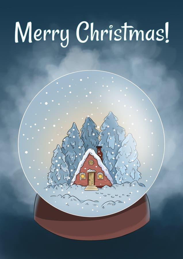 Winterszene der frohen Weihnachten in einer Schneekugelpostkarte stock abbildung
