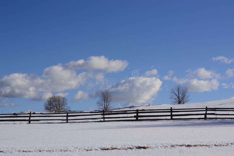 Winterszene in der Landschaft mit Zaun und Bäumen lizenzfreie stockbilder