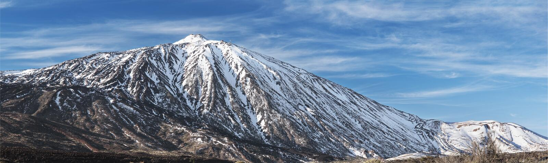 Winterszene des berühmten Teide-Vulkans, in Kanarischen Inseln Spanien Teneriffas stockfoto