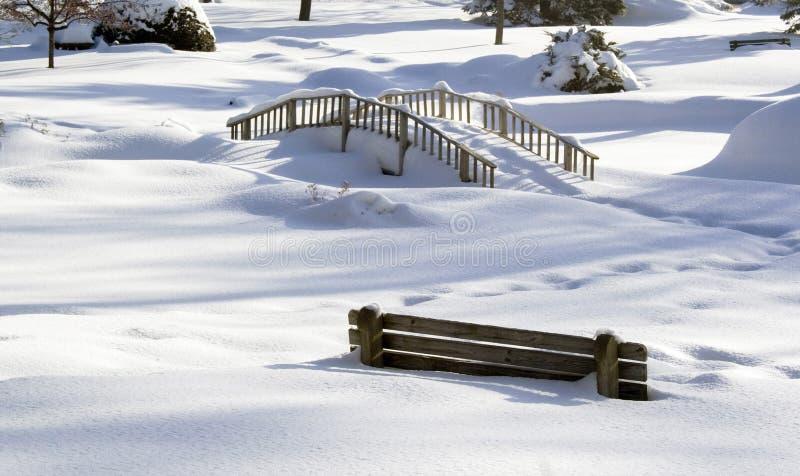 Winterszene im schneebedeckten Park lizenzfreies stockfoto