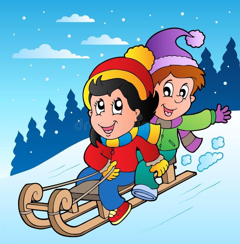 Winterszene mit Kindern auf Schlitten lizenzfreie abbildung