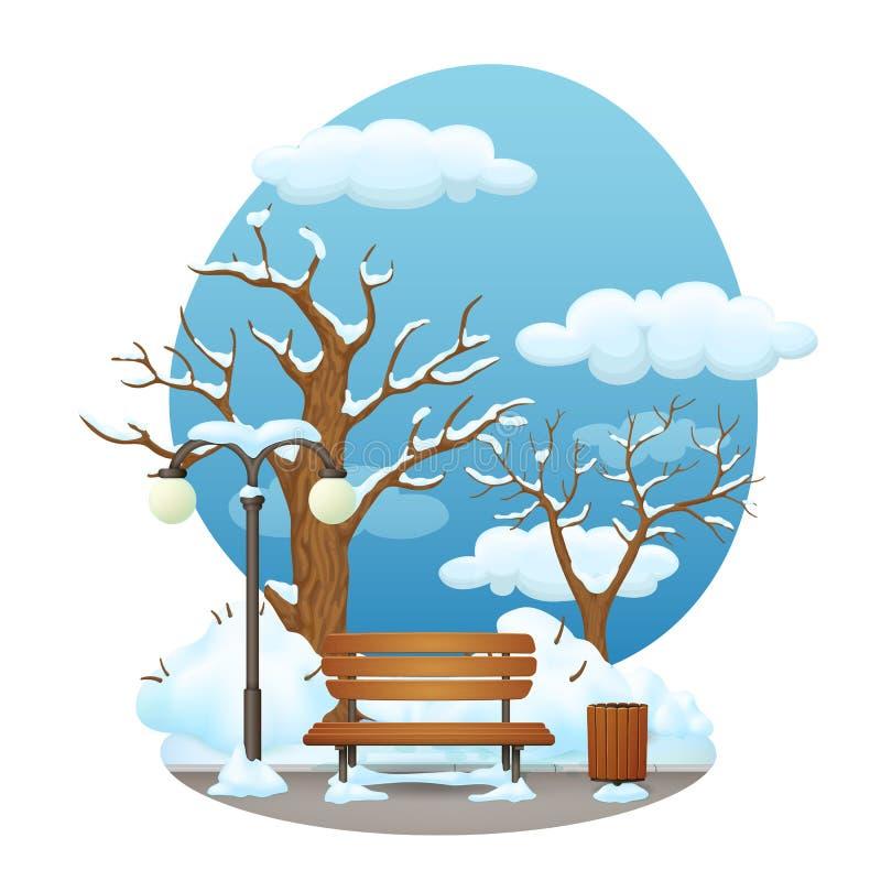Wintertagesparkszene Schnee bedeckte Holzbank mit Straßenlaterne lizenzfreie abbildung