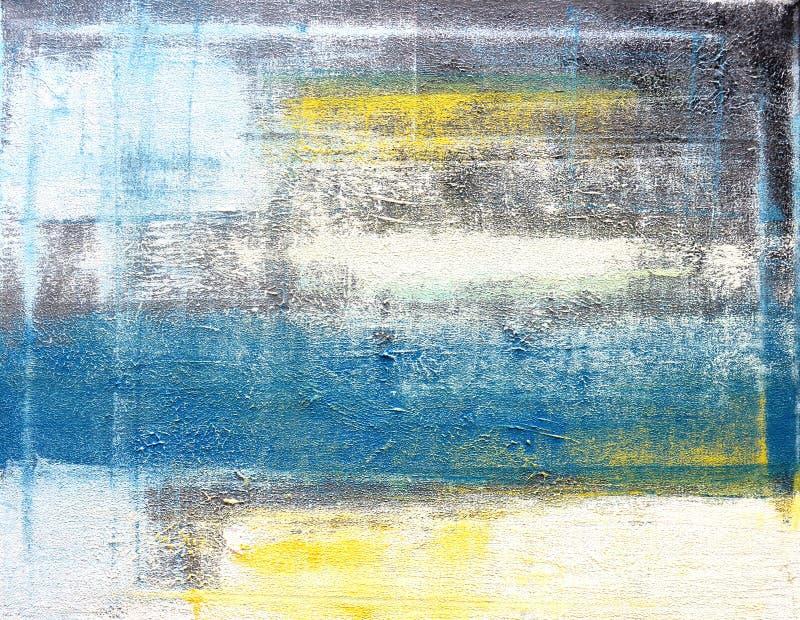 Wintertaling en Geel Abstract Art Painting stock afbeeldingen