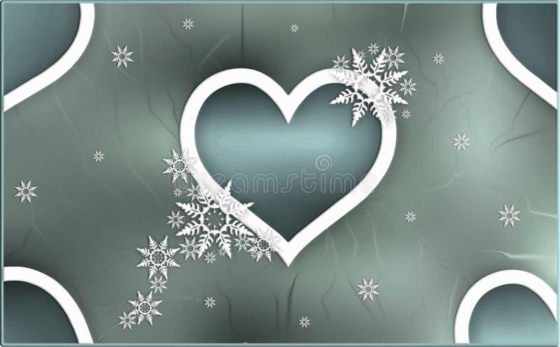 Winterthema-Herz Zusammenfassung mit Sprungseffekt-Tapetenillustration des Hintergrundes des Schnees Elemente unscharfer grauer lizenzfreie abbildung