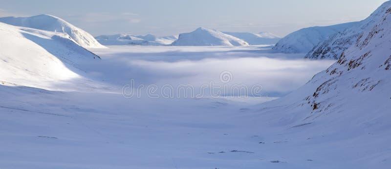 Wintertijd op Kungsleden royalty-vrije stock afbeelding