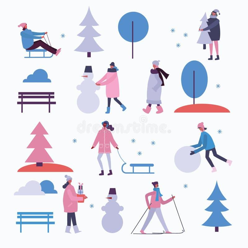 Wintertijdachtergrond met mensen openlucht royalty-vrije illustratie