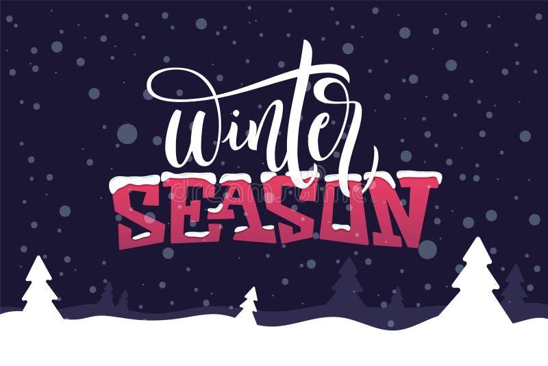 Wintertijdcitaat op donkerblauwe achtergrond De kaart van de vakantiegroet met sparren, sneeuw, sneeuwbank en kalligrafieelemente vector illustratie