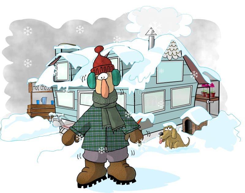 Download Wintertime stock illustrationer. Bild av män, komiker, roligt - 35708