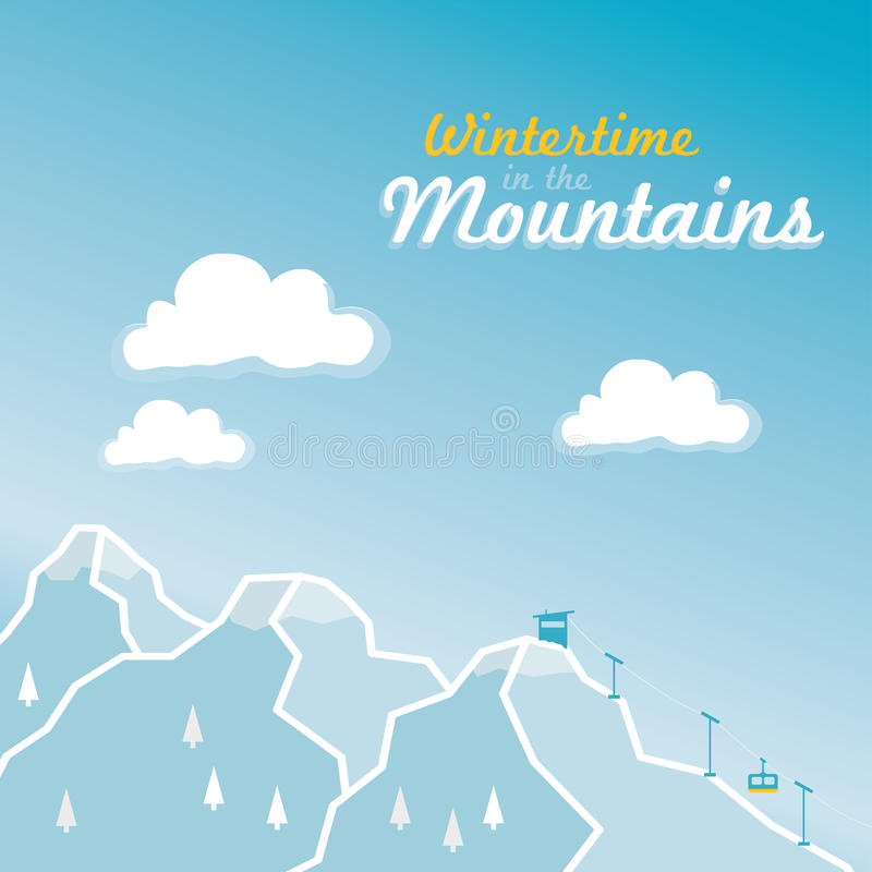 Download Wintertime In The Alpine Mountains Stock Vector - Illustration of lift, mountains: 35542661