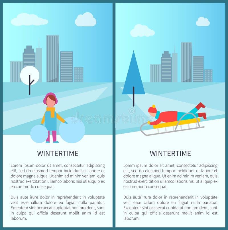 Wintertime Childish Activities Vector Illustration vector illustration
