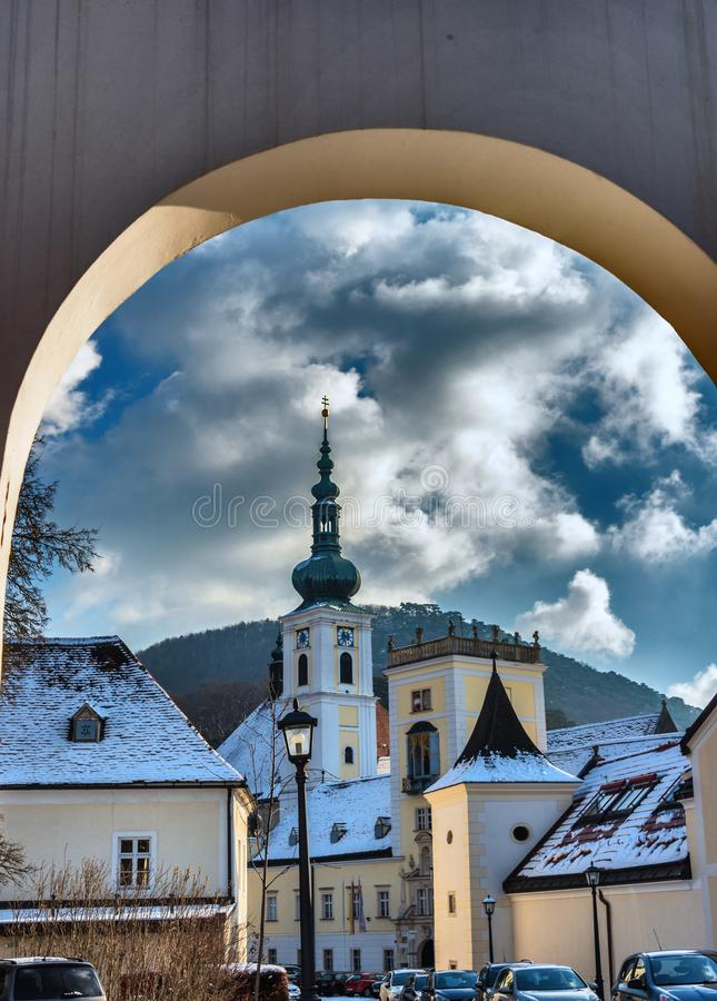 Archway and Inner Yard of the monastery of Heiligenkreuz royalty free stock photo
