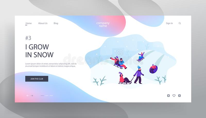 Wintertime Outdoors Activity Vacation Spare Time Website Landing Page. Happy Children Fun Sledding on Tubing and Sleds royalty free illustration