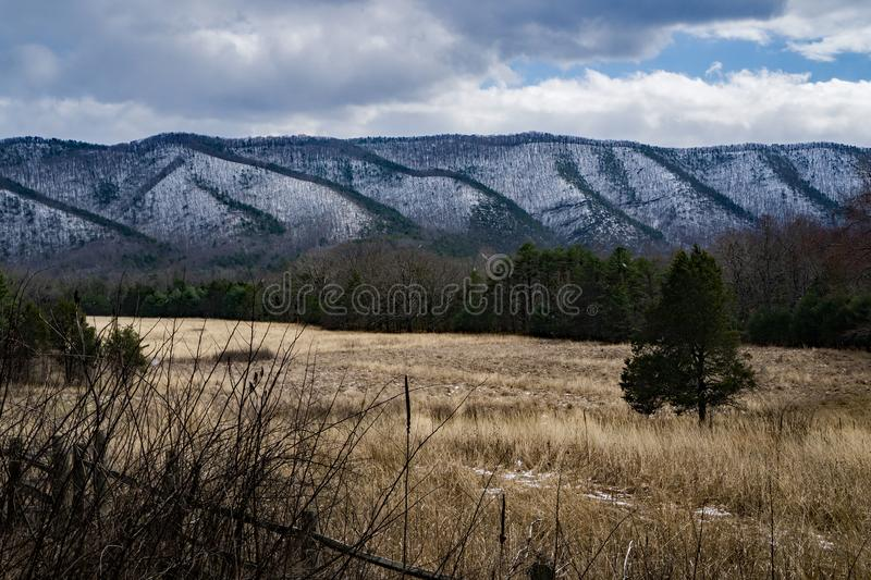 Wintertime on the Patterson Mountain from Craig Creek Recreational Area. Winter view of Patterson Mountain from Craig Creek Recreational Area located in stock photos