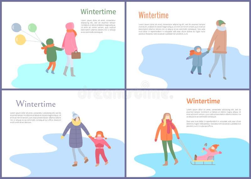 Wintertime rozrywki ludzie Ma zabawę Outdoors ilustracja wektor