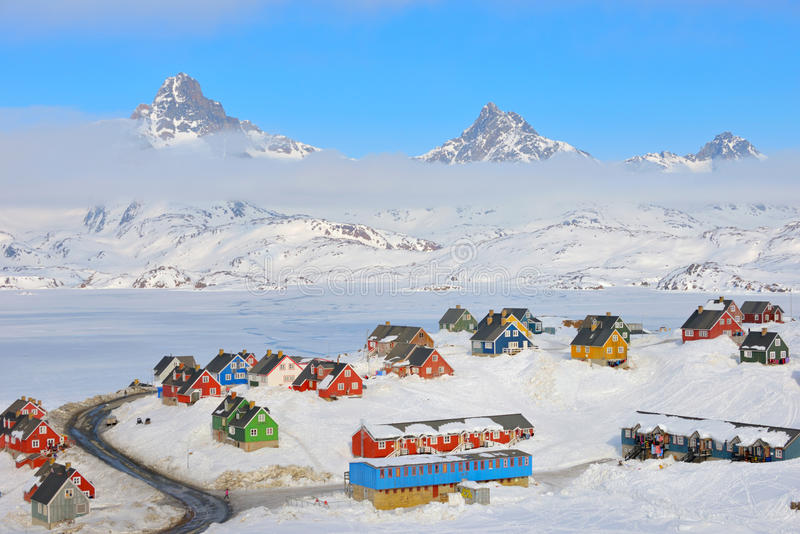 Wintertime in Tasiilaq, Greenland. Wintertime with colorful houses in Tasiilaq, East Greenland stock photo
