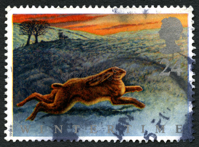 Wintertime UK Postage Stamp royalty free stock images