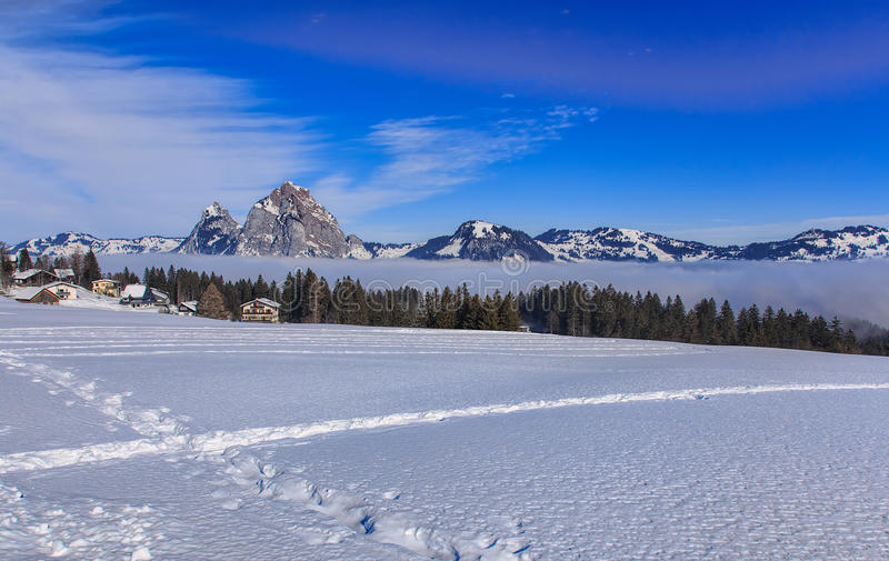 Wintertime view in the village of Stoos, Switzerland stock photography