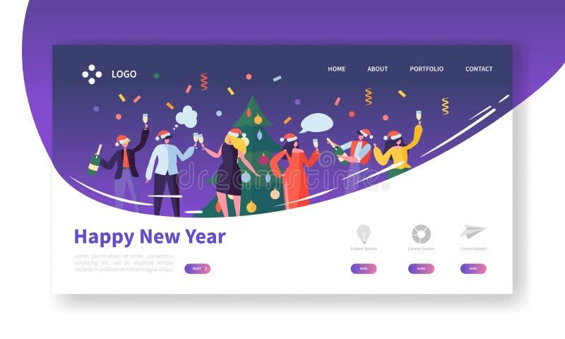 Winterurlaube Seiten-Schablone landend Frohe Weihnacht-und guten Rutsch ins Neue Jahr-Website-Plan mit flachen Leute-Charakteren vektor abbildung