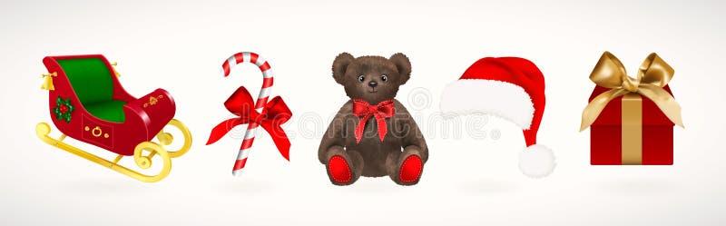 Winterurlaubikonen Stellen Sie von Weihnachts-Santa Claus-Pferdeschlitten und -hut, Geschenkbox mit goldenem Band, Zuckerstange u lizenzfreie abbildung