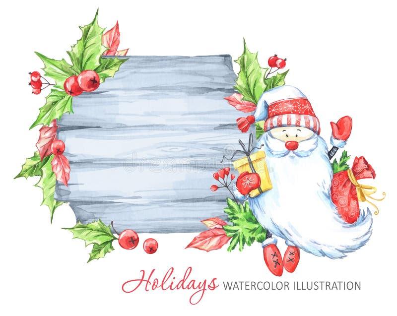 Winterurlaubillustration Holzrahmen des Aquarells mit Santa Claus vektor abbildung