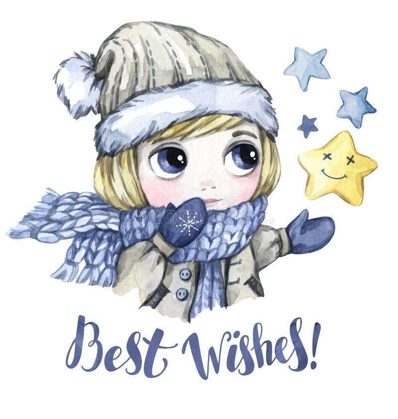 Winterurlaubillustration Kleiner Junge des Aquarells betrachtet die Sterne Einladung des neuen Jahres Wörter beste Withes vektor abbildung