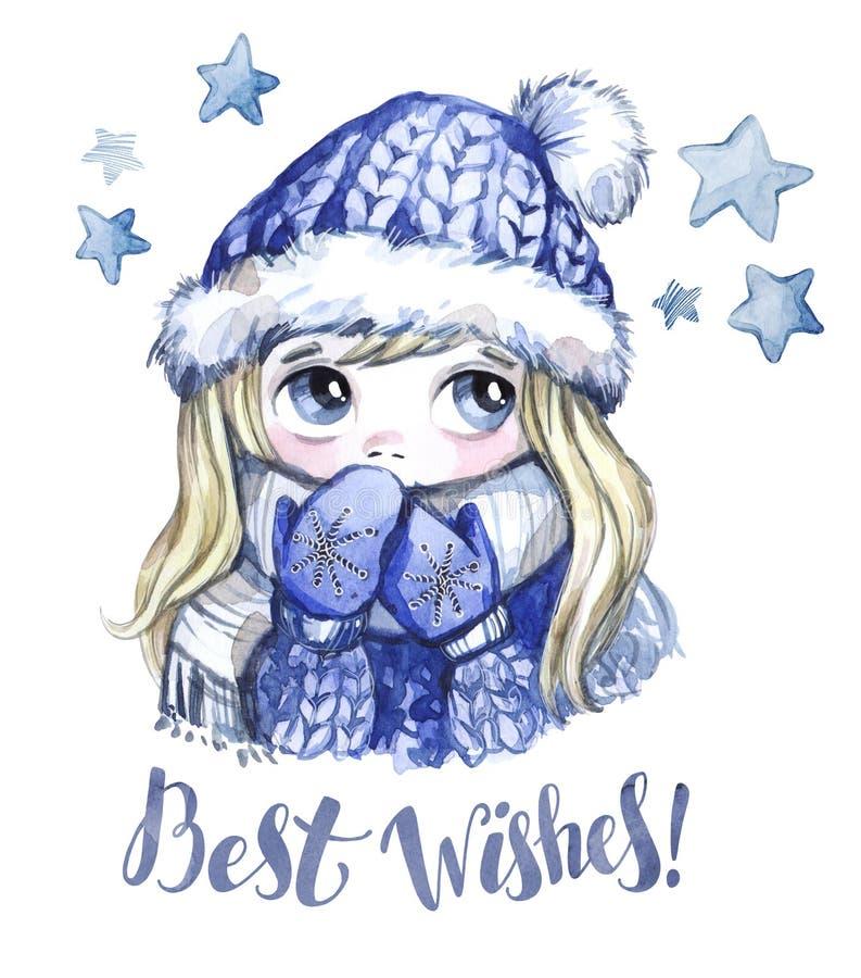 Winterurlaubillustration Nettes Mädchen des Aquarells mit großen Augen in der warmen Kleidung Einladung des neuen Jahres Beste Wü stock abbildung