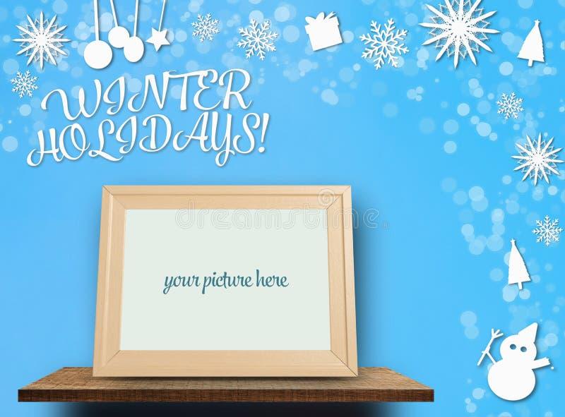 Winterurlaubpapier geschnitten mit leerem photoframe vektor abbildung