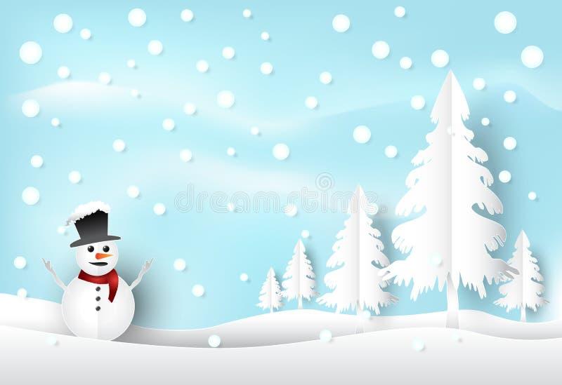 Winterurlaubschnee und -Schneemann mit Hintergrund des blauen Himmels christ lizenzfreie abbildung